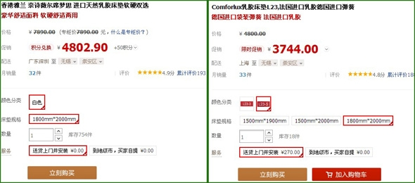 两款床垫价格对比