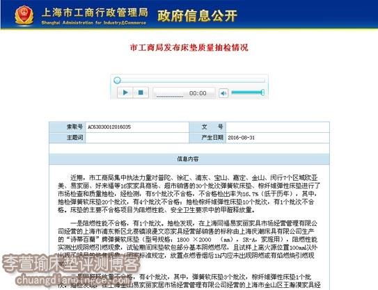 曝光!上海市工商局发布床垫抽检情况——5个批次不合格
